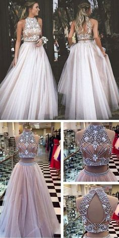 Prom Dresses 2017 New Arrival Beaded Prom Dresses Crystals Prom Dresses Sexy Formal Dresses Two Pieces Party Dress Backless Prom Dresses Custom Made