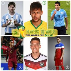 2014 World Cup Players to Watch mommymafia.com Teaching kids about soccer #WorldCup2014 #WorldCup #soccer Lionel Messi; Neymar; Luis Suarez; Cristiano Ronaldo; Mesut Özil; Clint Dempsey