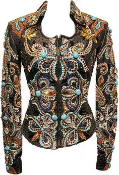 Gorgeous black, turquoise & gold jacket - western show jacket - show girl apparel - western pleasure