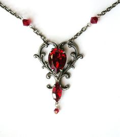 Silver Victorian Heart Shaped Pendant  Ruby by LeBoudoirNoir, €55.00