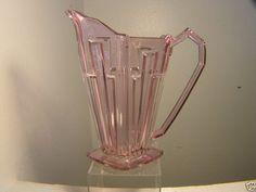 ANTIQUE VINTAGE  GLASS PITCHER PINK ART DECO DESIGN JOSEF INWALD 1922-1933