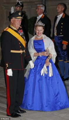 Norway's King Harald V and Queen Sonja enjoy the celebrations of the Royal wedding in Luxembourg