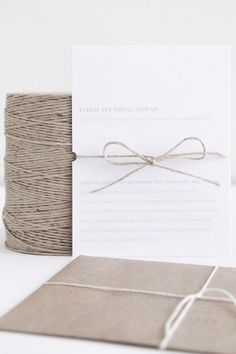 simple wedding invitation with natural twine.