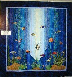 Ocean Quilt, Beach Quilt, Fish Quilt, Under The Sea 3d, Turtle Quilt, Landscape Quilts, Landscape Art, Strip Quilts, Small Quilts