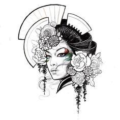 Japan Tattoo Design, Geisha Tattoo Design, Sketch Tattoo Design, Japanese Drawings, Japanese Tattoo Art, Japanese Tattoo Designs, Tattoo Drawings, Body Art Tattoos, Art Drawings