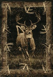 Delectably-Yours.com John Q Running Deer Rug by United Weavers Designer Contours Rugs in 4 sizes and a hall runner  #DelectablyYours Rustic Cabin Lodge Rugs, Bed and Bath Decor