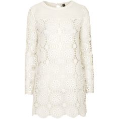 TOPSHOP Lace Knitted Dress (5750 RSD) found on Polyvore featuring dresses, vestidos, cream, white scalloped dress, lacy white dress, flower print dress, cream lace dress and scalloped dress