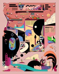 Koala Duck Yoga Throw Pillow by Ori Toor - Cover x with pillow insert - Indoor Flat Illustration, Graphic Design Illustration, Street Art, Pop Art Wallpaper, Bright Art, Collage Art, Art Inspo, Illustrations Posters, Vector Art