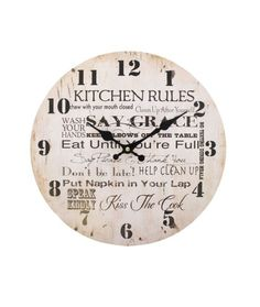 Jones Home and Gift Wall Clocks & Garden Kitchen Rules, Kiss The Cook, Home Deco, Shabby Chic, Wall Clocks, Gifts, Vintage, Ebay, Garden