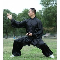 Asia-Sale Best Tai Chi, Kung Fu Clothing & Equipment Shop - Tai Chi Clothing Silk-like Fabric Black Kung Fu Clothing, Tai Chi Clothing, Qigong, Asian Men Fashion, Mens Fashion, Kung Fu Pants, Martial Arts, Fashion Models, Poses