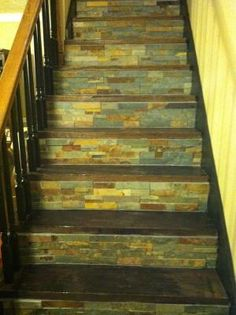 Stone Backsplash Tile Used On Stair Risers Home