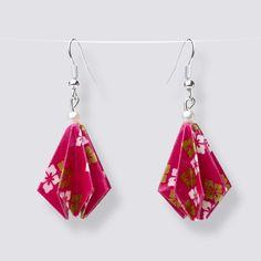 Origami Flower Drop Earrings - HZ486 Dangly Earrings, Drop Earrings, Origami Artist, Origami Design, Origami Flowers, Japanese Paper, Blooming Flowers, Handmade Accessories, Great Gifts