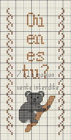 Marque page : Koala - Le blog de 7 à la maison, point de croix, tricot, grilles gratuites...