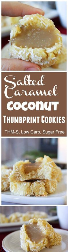 Salted Caramel Coconut Thumbprint Cookies (THM-S, Low Carb, Sugar Free
