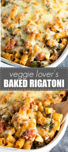 This veggie lovers baked rigatoni is packed. This veggie lovers baked rigatoni is packed full of cherry tomatoes onions garlic mushrooms bell peppers zucchini and spinach. A hearty and delicious vegetarian dinner! Tasty Vegetarian Recipes, Vegetarian Recipes Dinner, Vegan Dinners, Veggie Recipes, Cooking Recipes, Healthy Recipes, Vegetarian Pasta Bake, Healthy Pasta Bake, Vegetarian Recipes