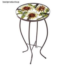 #Ebay #Round #Glass #Side #Table #Metal #Sunflowers #Durable #Indoor #Outdoor #Deck #Decor #Coffee