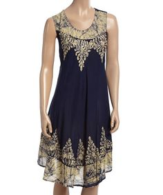 Loving this Yellow & Navy Batik Flourish-Embroidered Shift Dress on #zulily! #zulilyfinds