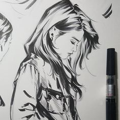 "819 Likes, 5 Comments - Diver S (@novah2) on Instagram: ""#study #for #my #graphicnovel #brushpen #drawing #sketch #doodle #comics #ink #girls #hairstyle…"""