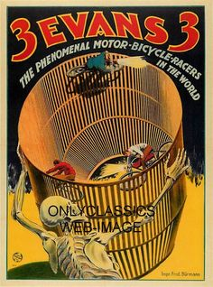 VINTAGE WALL OF DEATH MOTORCYCLE DAREDEVIL MOTOR BICYCLE RACERS POSTER GRAPHICS   eBay