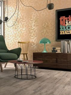 If you want to freshen up your living room decor, you might like to add some colour on your walls. Instead of using paint, we suggest mosaics. We offer mosaics in a lot of different colours, with a wide range of shapes, textures and sizes. This means you have way more options to upgrade your wall with mosaics than with paint! With our Valencia collection you can even mix matt and glossy tiles, which adds extra depth to your wall. Living Room Tiles Design, Living Room Decor, Living Room Inspiration, Recycled Glass, Tile Design, Textured Walls, Wall Tiles, Mosaic, Wall Decor