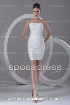 Column/Sheath White Strapless Ruched Cocktail Dress