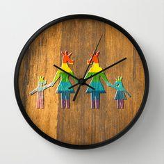 Unicorn Rainbow Family #2 Wall Clock