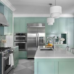 Furniture Design Models in Pretty Performance: Stunning Painted Floors In A Modern Kitchen Interior With Green Kitchen Furniture With White . Interior Ikea, Kitchen Interior, Kitchen Decor, Kitchen Ideas, Cheap Kitchen, Rustic Kitchen, Wooden Kitchen, Kitchen Inspiration, Stylish Kitchen
