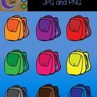 Book Bags Clip Art  This is a fun set of 9 images in color to use in your classroom and teacher resource files that you sell and distribute.   For ...