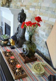 Buddha Buddha Vignettes eclectic decor Global decor Global Décor Design In Ethnic Home Decor, Asian Home Decor, Boho Home, Handmade Decorative Items, Handmade Home Decor, Diy Home Decor, Handmade Decorations, Decor Crafts, Sala Zen