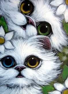 """""""Two White Persian Kittens Odd Eye and Flowers"""" par Cyra R. Cancel"""