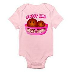 """Sweet Like Gulab Jamun"" Infant Body Suit $17.99. Love these sweet Indian inspired designs by LittleRajaAndRani.com. They would make great baby shower, birthday or holiday gifts. #gulabjamun #desi #desikids #desibaby #babyshower"