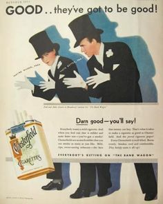 Vintage Chesterfield Cigarettes Ad with Fred & Adele Astair - 1931
