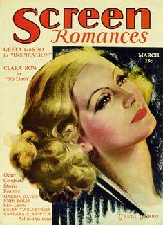 Greta Garbo - Screen Romances, March.