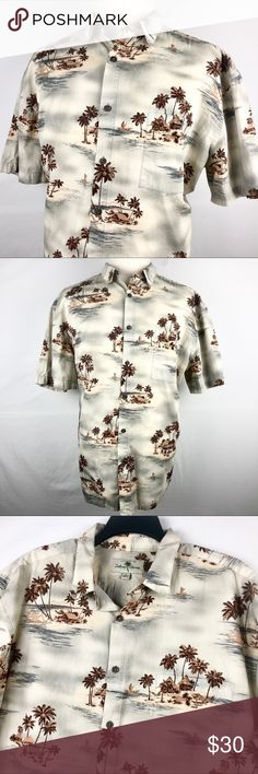 """Island Shores Hawaiian Shirt Men XXL Cotton Bahama Brand: Island Shores   Detail: This is a Island Shores Hawaiian Style Men's Shirt. Features A Beautiful Island Style Graphic, Wooden Buttons, & Very Soft, Lightweight & Cool 100% Cotton Fabric.  Condition: This item is in Good Pre-Owned Condition! No Major Flaws (No Stains, Rips or Tears).  Material: 100% Cotton Care: Machine Washable  Size: XXL Measurements: Chest: 27"""" Length: 31"""" Shoulder: 23.5"""" Sleeve: 10"""" 💥Top Rated Seller! 💥Suggested…"""