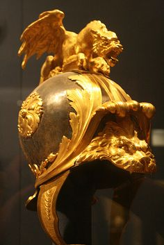 Helmet in the Classical Style French,about 1760-70 Bronze,silvered and blued,gilt bronze,silk and metallic yarm .