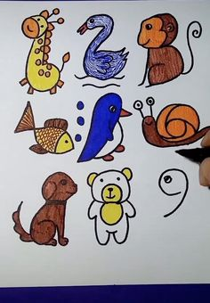 Easy Drawings For Kids, Art Drawings Sketches Simple, Drawing For Kids, Cute Drawings, Hand Art Kids, Art For Kids, Preschool Crafts, Diy Art, Art Lessons