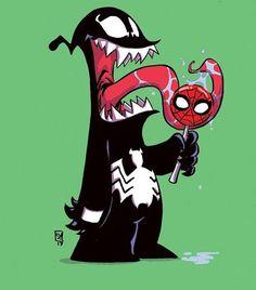 Venom Eating a Spidey Lollipop - Skottie Young