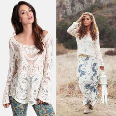 NWT Boutique Bohemian Lace Crochet coral Dress Shirt Festival fringe Women/'s M//L