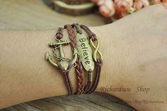 Anchor braceletRetro bronze charm braceletMan's cuff by Richardwu, $5.50