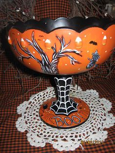 Handpainted Halloween Trick or Treat Footed Compote Carnival Glass Bowl Witch | eBay
