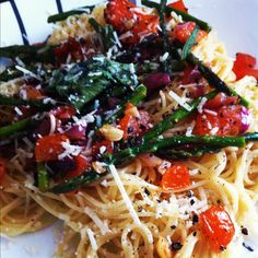 angel hair and some cooked veggies with pecorino cheese