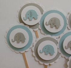 Elephant Cupcake Toppers - Blue, Gray and White - Boy Baby Showers - Boy Birthday Parties