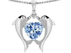 Star K Kissing Love Dolphins Pendant 8mm Heart-Shape Simulated Aquamarine