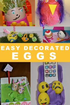 Easy decorated eggs for Easter - Easter Crafts for kids : Easy decorated eggs for Easter. Grow cress in an egg, make emoji eggs, Minion eggs and Toddler Learning Activities, Easter Activities, Toddler Preschool, Minion Eggs, Make Emoji, Easter Crafts For Kids, Easter Ideas, Rainy Day Crafts, Holidays With Kids