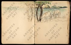 Citation: Margaret Casey Gates sketchbook, Margaret Casey Gates papers, Archives of American Art, Smithsonian Institution. Archives Of American Art, Gates, Vintage World Maps, Arts And Crafts, Sketches, Craft Ideas, Artwork, Animals, Drawings