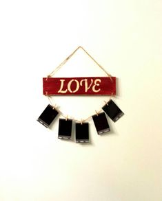 Discover recipes, home ideas, style inspiration and other ideas to try. Wooden Pegs, Wooden Diy, Rustic Wood Signs, Rustic Decor, Baby Shower Garland, Different Signs, Hanging Pictures, Family Signs, Hanging Signs