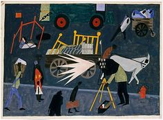 "The Photographer 1942.  Jacob Lawrence / This painting is one of thirty that Lawrence made between 1942 and 1943 on the theme of everyday life in Harlem that he called ""observations of the human condition."""
