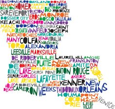 LOUISIANA Digital Illustration Print of Louisiana State with Baton Rouge New Orleans. $15.00, via Etsy.