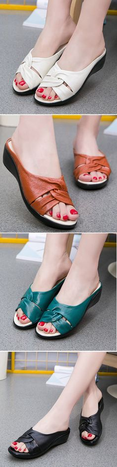 SOCOFY Pure Color Wedges Peep Toe Retro Slippers