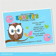Owl & Peace Sign Birthday Invitation or Thank by PinkPickleParties, $10.00
